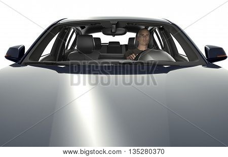 The Motorhood With Driver Of A Modern Car