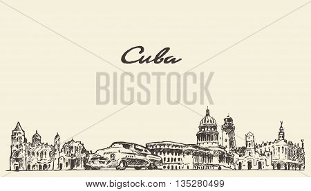 Cuba skyline vintage vector engraved illustration hand drawn sketch