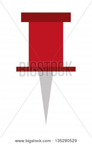 single red thumbtack vector illustration, flat style design