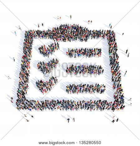 Large and creative group of people gathered together in the shape of a questionnaire image. 3D illustration, isolated, white background.
