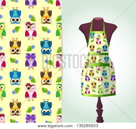 Vector fashion illustration women's kitchen apron on a dummy. Seamless vector background pattern isolated elements for invitation card design. Seamless fabric texture
