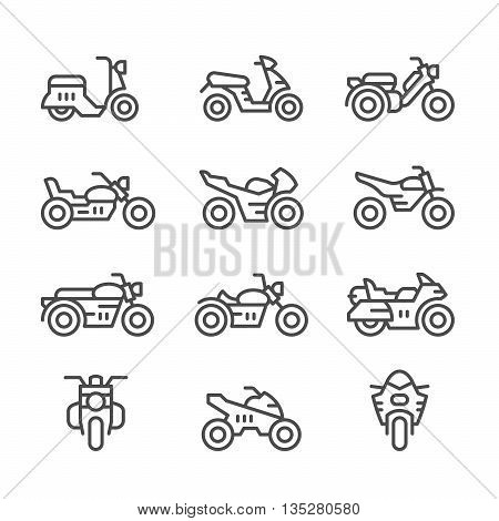 Set line icons of motorcycles isolated on white. Vector illustration