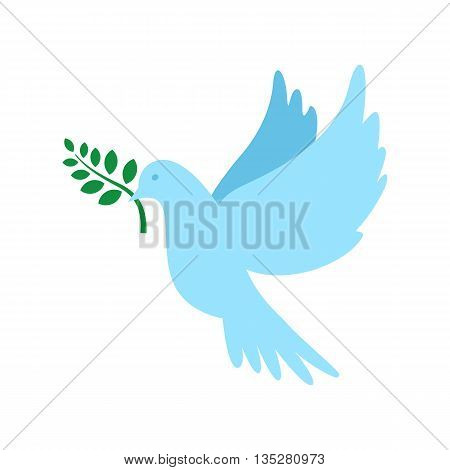Dove of peace and olive branch. International Peace Day. Vector illustration.