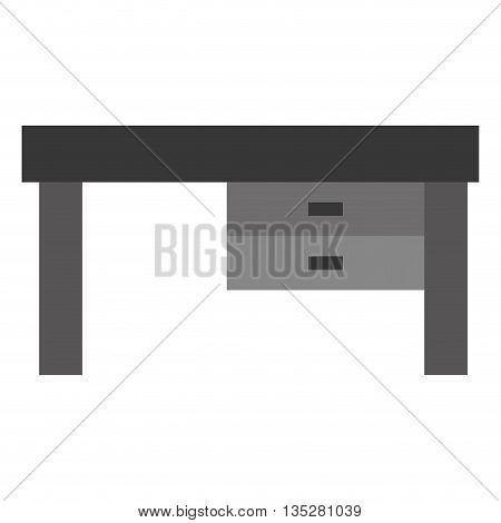 simple grey desk with two drawers vector illustration