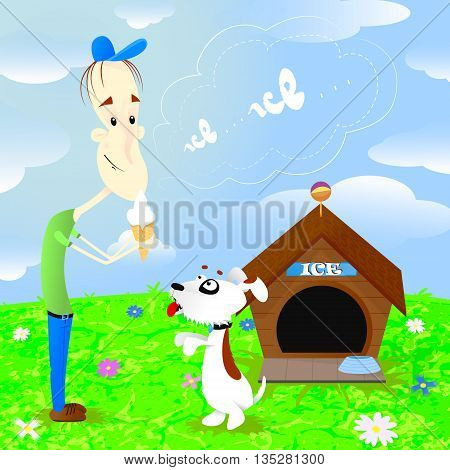 Boy eating ice cream and calling the dog Ice vector illustration