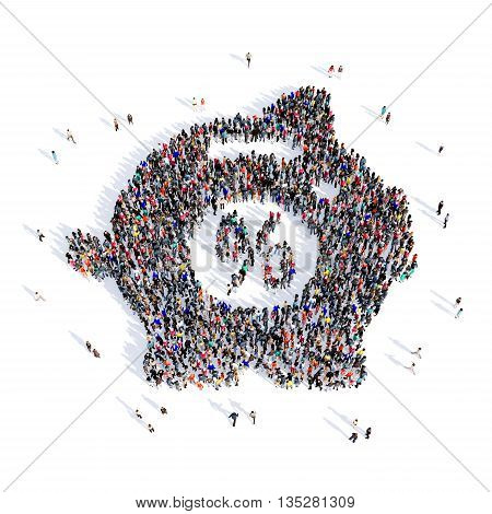 Large and creative group of people gathered together in the shape of a money box . 3d illustration, isolated, white background.