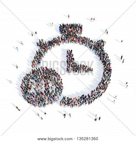 Large and creative group of people gathered together in the shape of a stopwatch image. 3D illustration, isolated, white background.