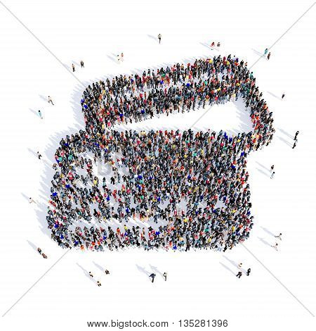 Large and creative group of people gathered together in the shapr of a credit card purchase image. 3D illustration, isolated, white background.