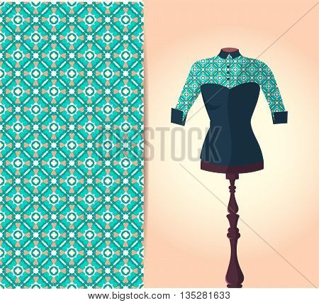 Vector fashion illustration women's blouse on a dummy hand drawn seamless geometric pattern isolated elements for invitation card design. Seamless fabric texture