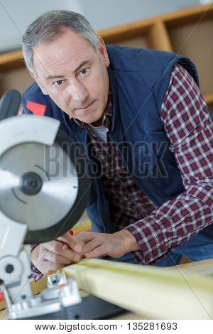 closeup of sharp circular saw blade