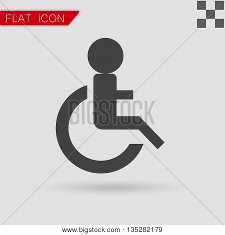 Wheelchair Handicap Icon. Flat Style with red mark