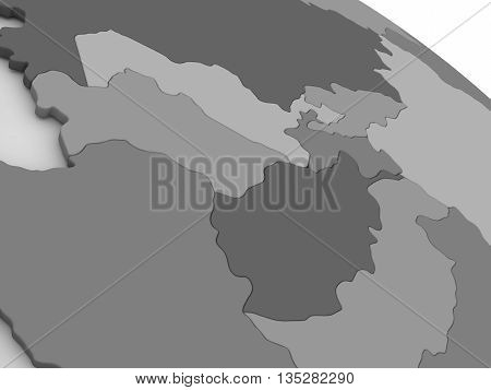 Central Asia On Grey 3D Map