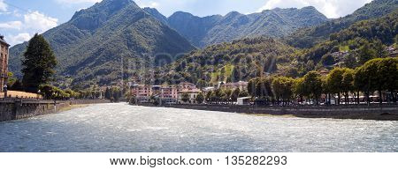 Wide view of the small town of San Pellegrino Terme (Lombardy, Northern Italy, Province of Bergamo), world famous for its thermal medical care.