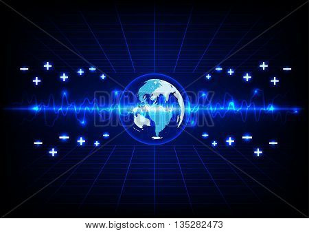 abstract blue lighting and globe energy technology background.illustration vector design