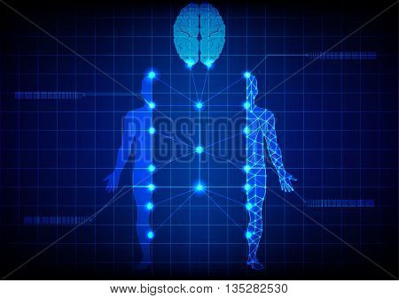 abstract medical body and brain technology. illustration design.