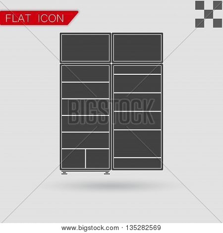 Black refrigerator Icon vector Flat Style with red mark