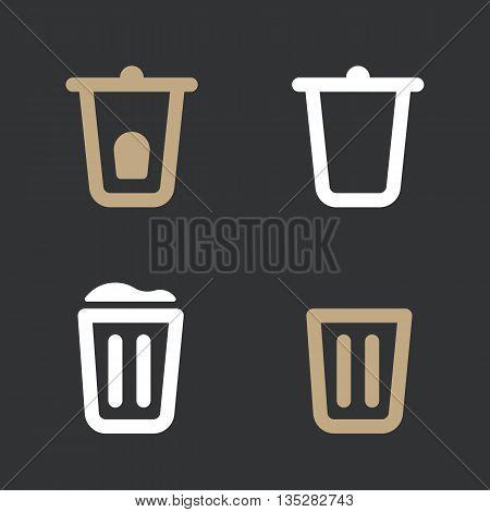 Set of trash bin vector icon. Flat design style