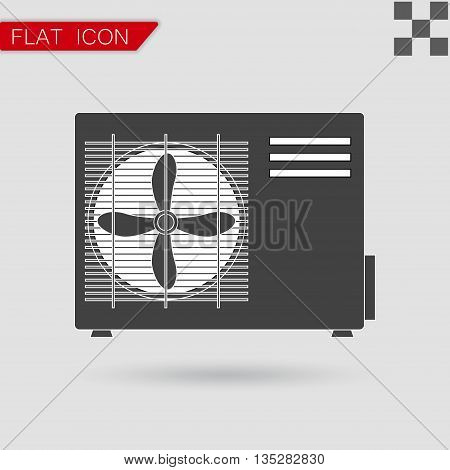 Air conditioner vector Flat Style with red mark