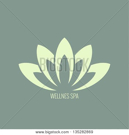 Abstract vector logo element. Lotus flower. Icon for beauty, healthcare, wellness, fashion, cosmetic, perfume, yoga emblem, herbal product spa massage salon delicate color