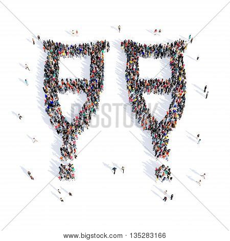 Large and creative group of people gathered together in the shape of crutches, medicine, image. 3D illustration, isolated, white background.