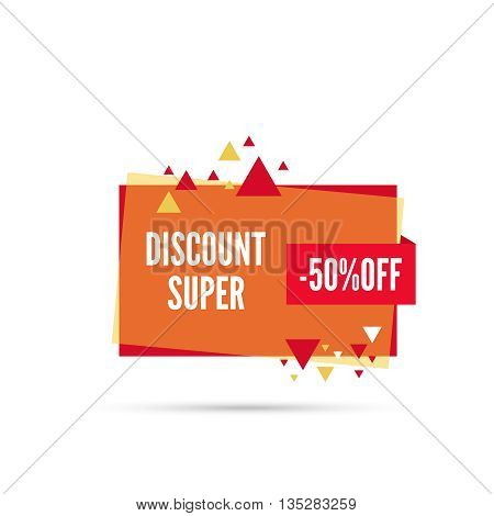 Sale banner. Vector tag. special offer, discount, price 50 percentage  Super discount