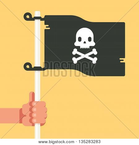 Skull flag in hand waving on yellow background. Vector flat illustration.