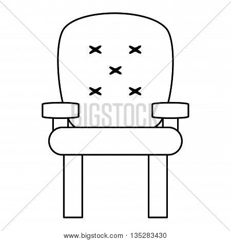 cushioned armchair vector illustration , flat style icon design