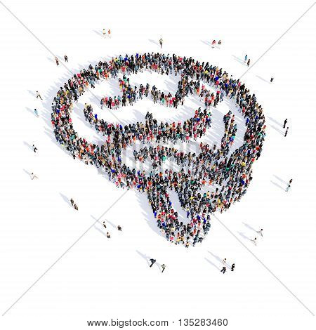 Large and creative group of people gathered together in the shapeof the brain, medicine, image. 3D illustration, isolated, white background.