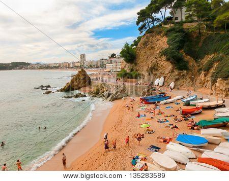 LLORET DE MAR SPAIN - SEPTEMBER 14 2015: The beach in costa Brava of Catalonia Spain