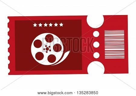 red movie ticket with film reel on it vector illustration