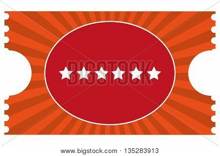 movie ticket with six stars on it vector illustration