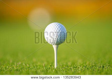 Golf ball on tee in a beautiful golf club.