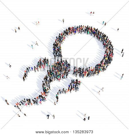 Large and creative group of people gathered together in the shape of sperm, fertilization, medicine, image. 3D illustration, isolated, white background.