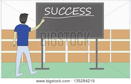 Student writting succes on the black board