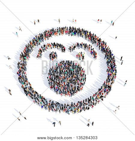 Large and creative group of people gathered together in the shape of a smiling face , smiley . 3d illustration, isolated, white background.