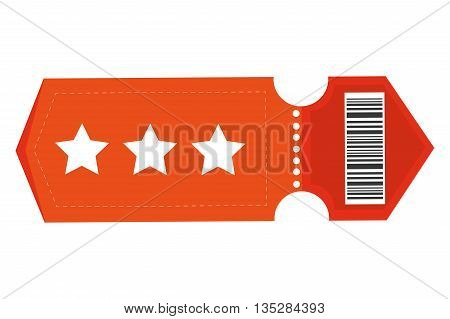 orange movie ticket with three stars on it vector illustration