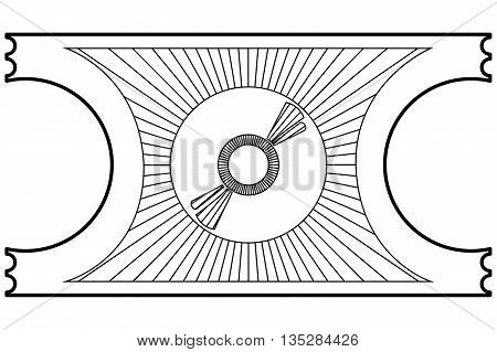 simple black line movie ticket with cd icon on it vector illustration