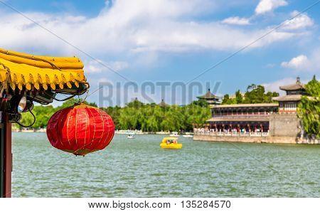 Red paper lantern in Beihai Park - Beijing, China
