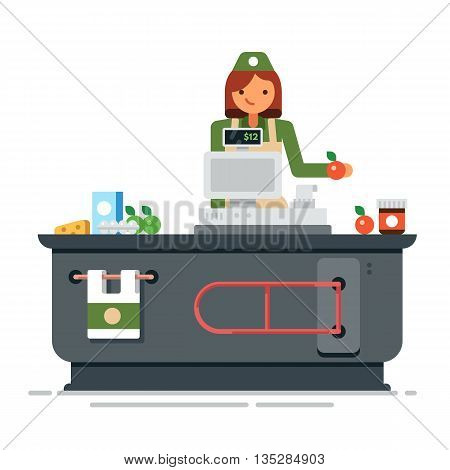 A young cashier woman standing in supermarket. Supermarket store counter desk equipment and clerk in uniform ringing up grocery purchases. Vector flat illustration isolated on white background.