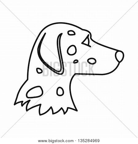 Dalmatians dog icon in outline style isolated on white background. Animals symbol