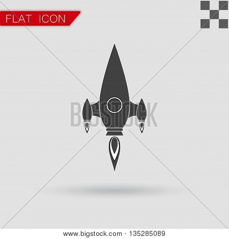 Vector black Rocket icon Flat Style with red mark