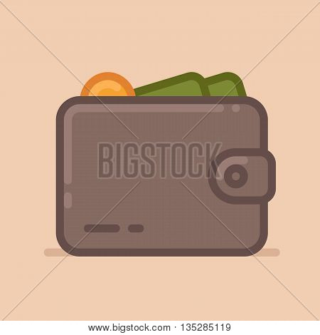 Wallet with dollars vector icon. Flat design style