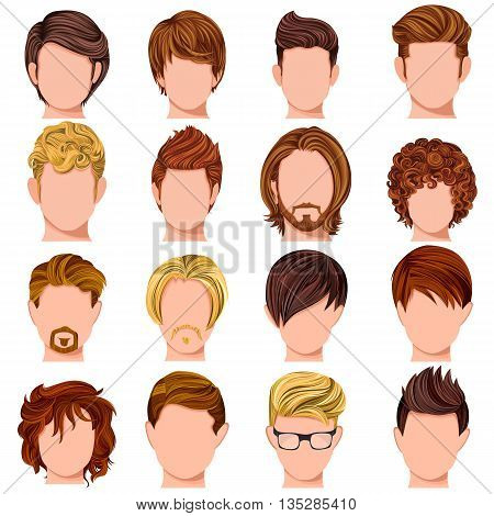 Vector design of collection of trendy mordern male hairstyle