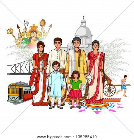 Vector design of Bengali family showing culture of West Bengal India