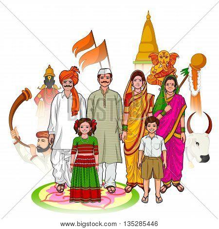 Vector design of Maharashtrian family showing culture of Maharashtra India