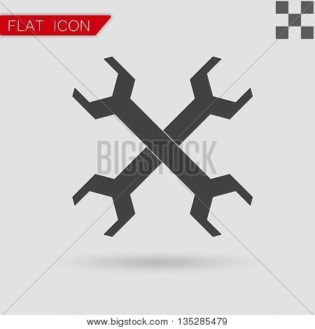 Vector Wrench icon Flat Style with red mark