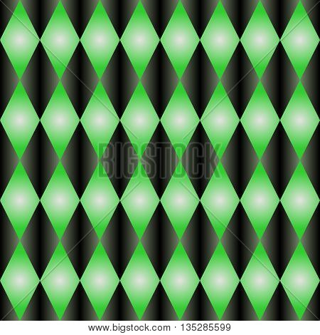 Pattern with rhombus .Green and black gradient.