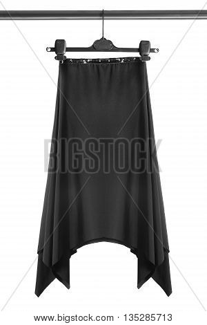 Black silk skirt on clothes rack isolated over white