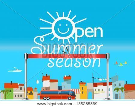 Vacation travelling concept. Flat design vector illustration. Open summer season