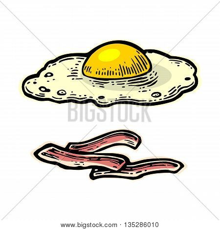 Fried egg and slices of crisp bacon. Isolated on white background. Vector vintage engraving illustration for poster menu web banner info graphic